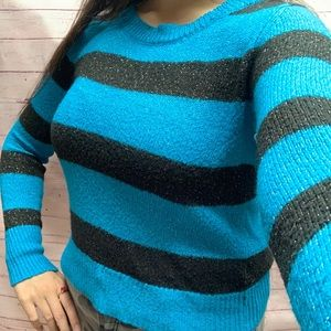 Sparkly-Woven Black & Blue Striped Croptop Sweater